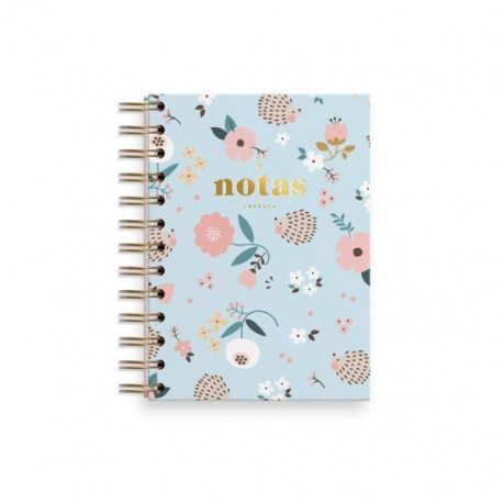 Cuaderno mini erizo azul. Liso. Charuca