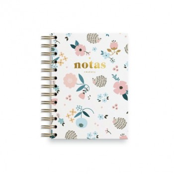 Cuaderno mini erizo blanco. Rayas. Charuca