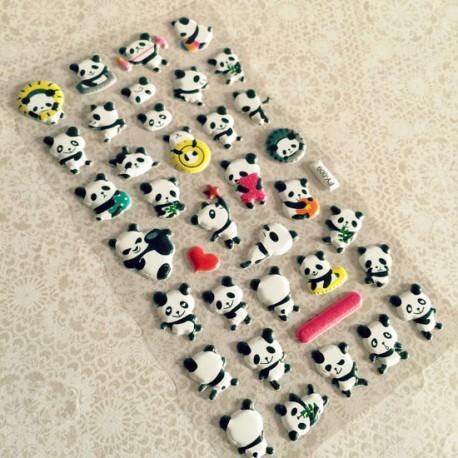 Hoja de pegatinas en relieve Panda