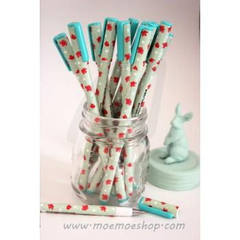 Bolígrafo flores rojas