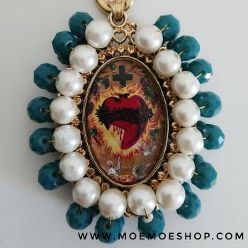 Medalla Mexicana XXL Perla y Azul añil