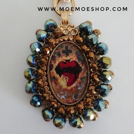 Medalla Mexicana XXL Azul y Dorado Brillo