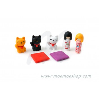 Set gomas Iwako Doll & Lucky cat